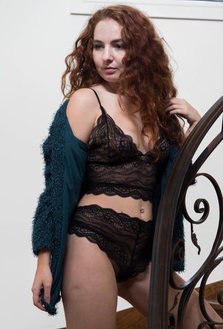 black lace longline bralette and Isla french knickers by lazy girl lingerie