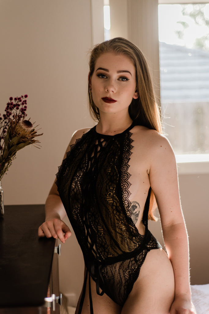 high neck black lace bodysuit