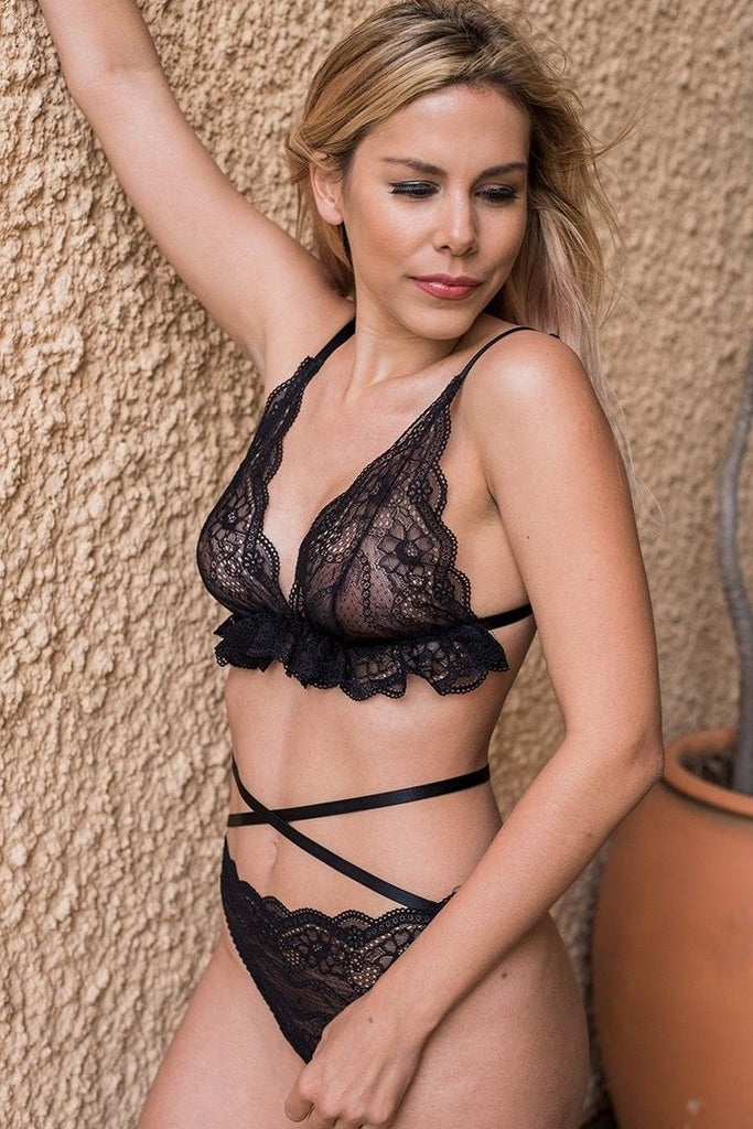 sexy black lace lingerie set