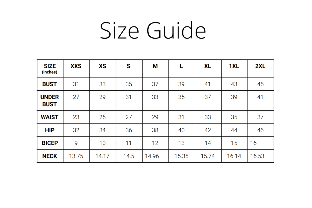 size guide inches