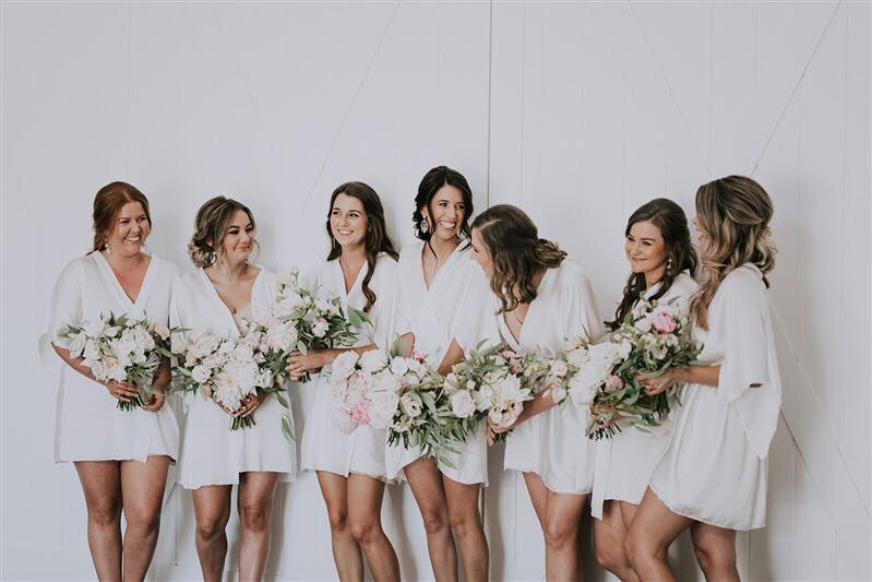 all white matching bridal party robes