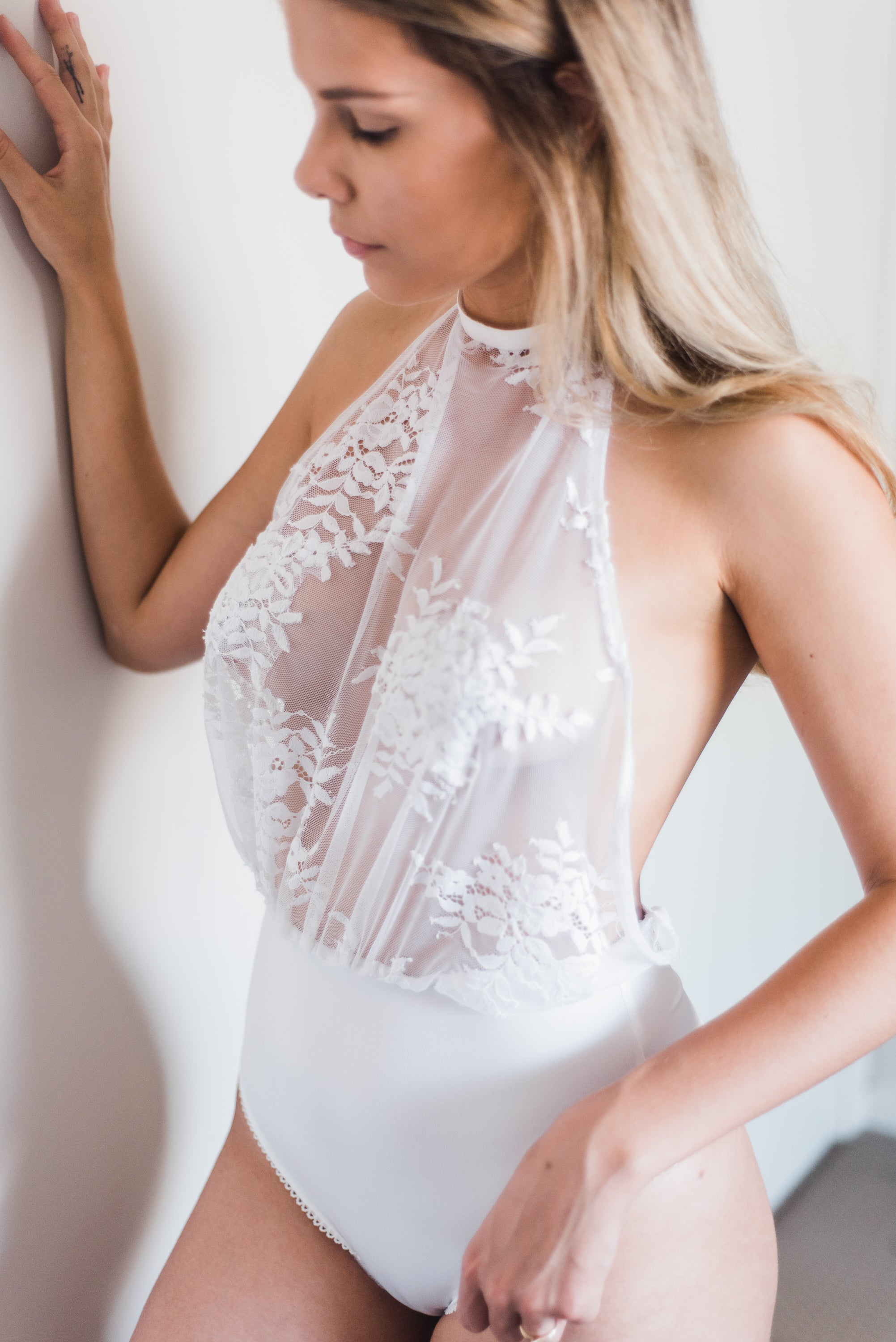 white lace bridal bodysuit