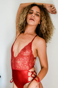 Sylvie Red Lace Bodysuit with Suspender Belt