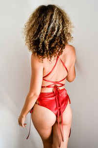 Sylvie Red Lace-Up Bodysuit