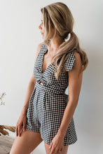 black checkered gingham romper