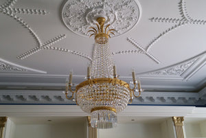Empire Tent And Bag 10 Arm Chandelier With Swarovski Pans - David Malik & Son