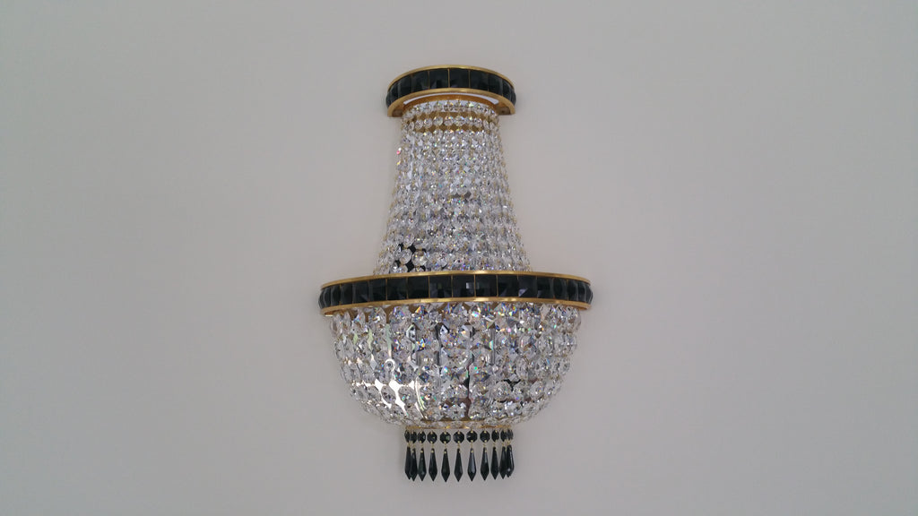 Tent & Bag Swarovski Crystal With Black Swarovski Banding Wall Light