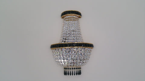 Tent & Bag Swarovski Crystal With Black Swarovski Banding Wall Light - David Malik & Son