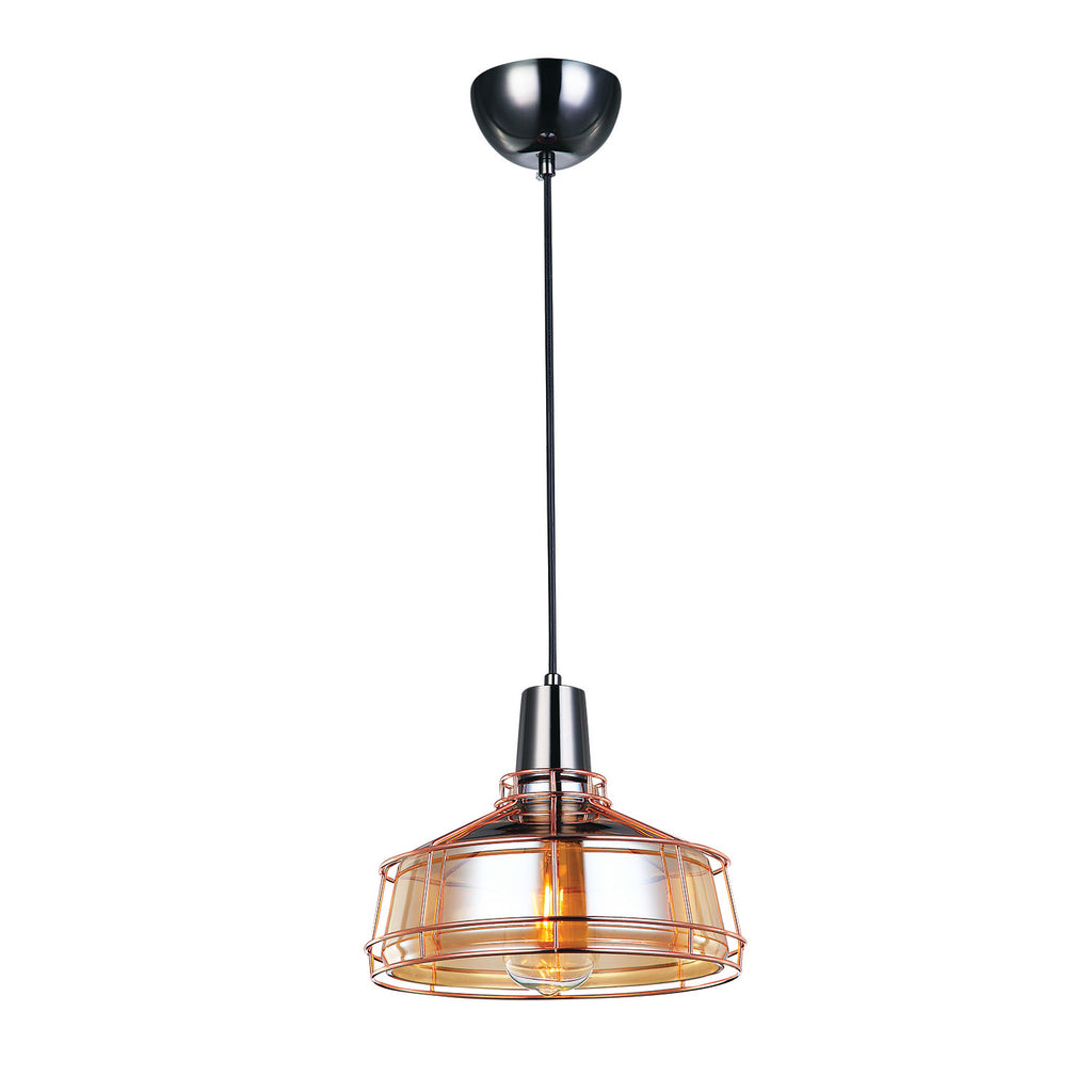 Brixton Amber Glass Ceiling Light