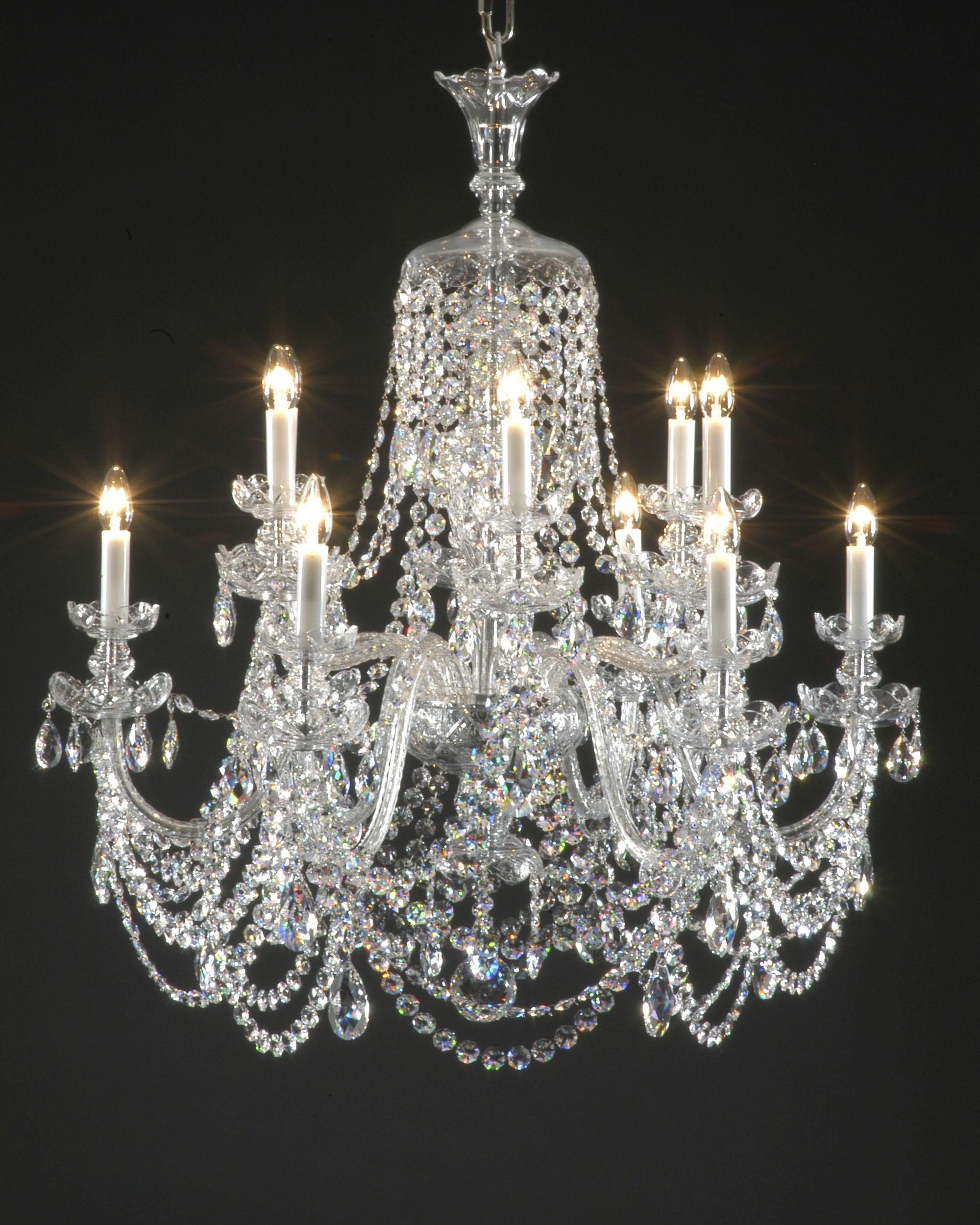 Chandelier with 12 Arms, Swarovski Crystal Dressing