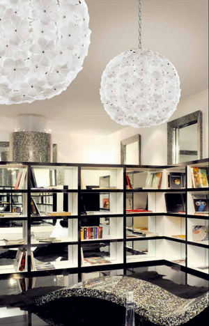 Kew Flower Ceiling Light White Glass - David Malik & Son
