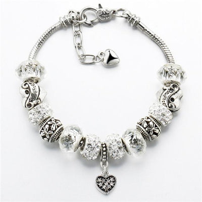 Crystal Heart Ball Beads Pulseras