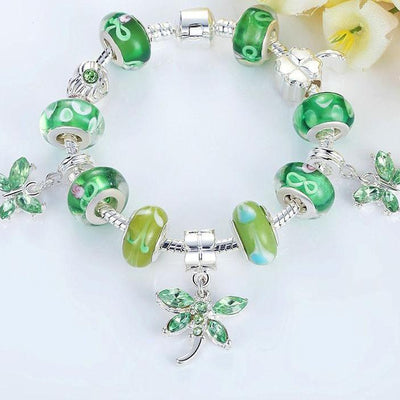 Green Glass European Bead