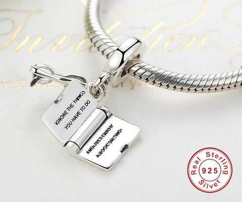 I LOVE READING Book Charm Beads
