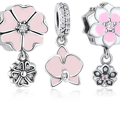 Pink Enamel Orchid Charms