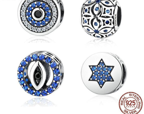 Silver Blue Crystals Eyes Round Beads