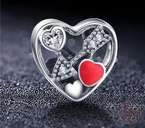 Sterling Silver Love Heart Shape Charm