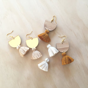 Lennon Earrings - gold + bamboo