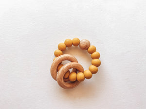 Silicone + Wood Baby Teething Ring