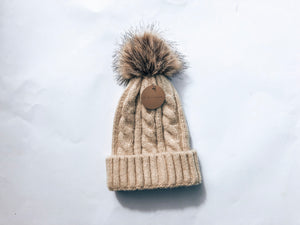 Adult Knitted Beanie with Faux Pom Pom