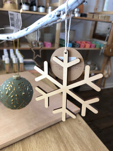Wooden Snowflake Hanging Ornament