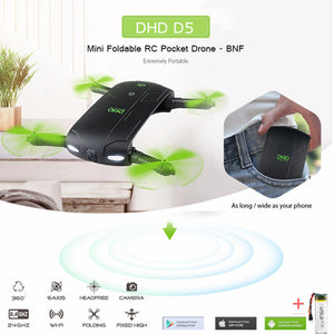 D5 Selfie Drone With HD Camera Foldable  Pocket Drones