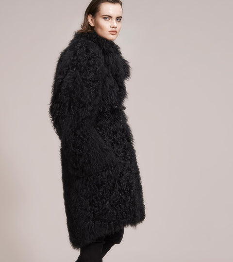 OPSUNDBAY - WOMENS BLACK CASHMERE FUR COAT