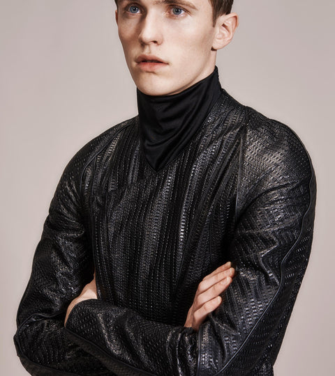 OPSUNDBAY - MENS EMBOSSED LEATHER JACKET by Menswear Designer Dianna Opsund Bay