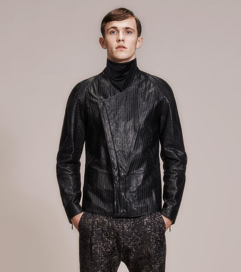 OPSUNDBAY - MENS EMBOSSED LEATHER JACKET