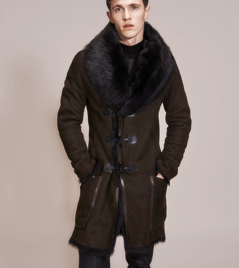 OPSUNDBAY - MENS BROWN SHEARLING COAT by Menswear Designer Dianna Opsund Bay