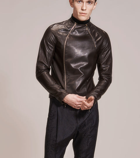 OPSUNDBAY - MENS BROWN LEATHER BIKER JACKET by Menswear Designer Dianna Opsund Bay