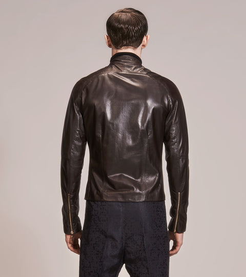 OPSUNDBAY - MENS BROWN LEATHER BIKER JACKET