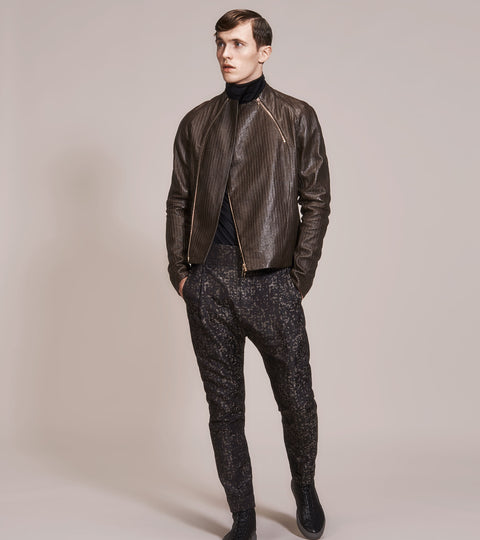 OPSUNDBAY – MENS EMBOSSED LEATHER BIKER JACKET by Menswear Designer Dianna Opsund Bay
