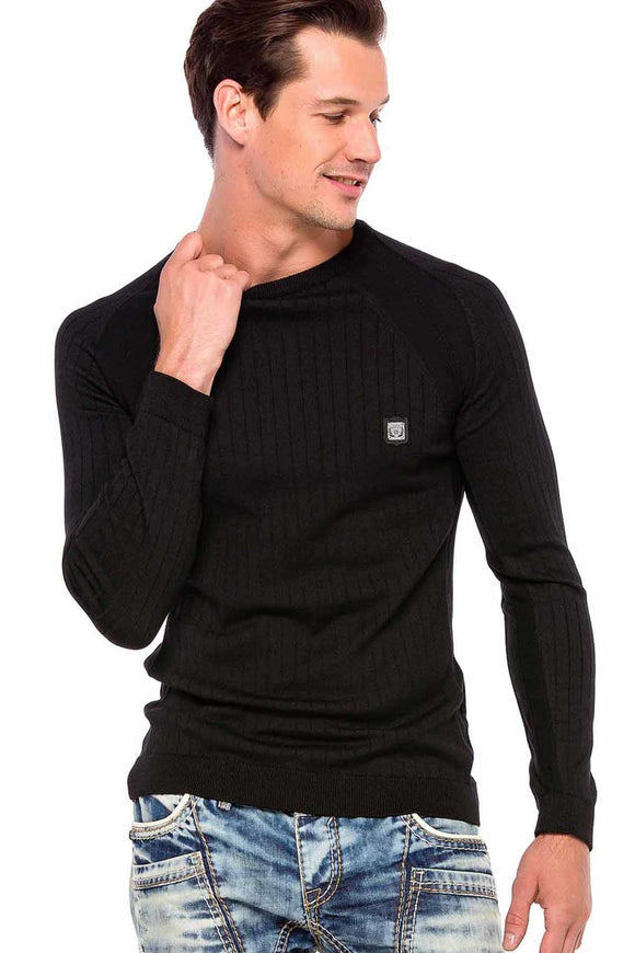 Cipo & Baxx Black Slimfit Knitted Top