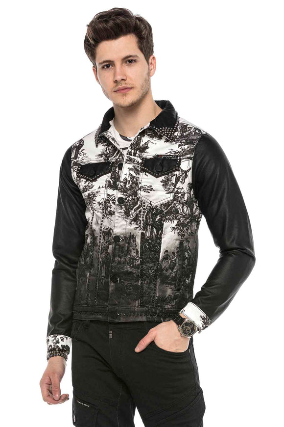 Cipo & Baxx Denim Printed Studded Jacket