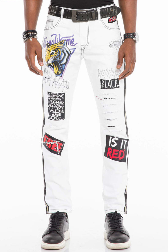 Copy of Cipo & Baxx White Graffiti Style Jeans
