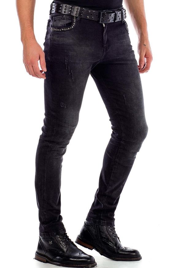 Cipo & Baxx Black Studed Slimfit Jeans