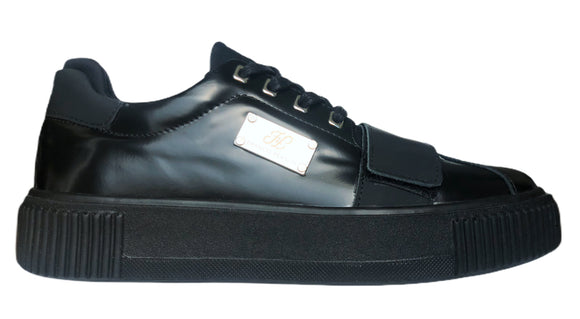 FF Patent Black Leather LowTop Sneakers with Strap