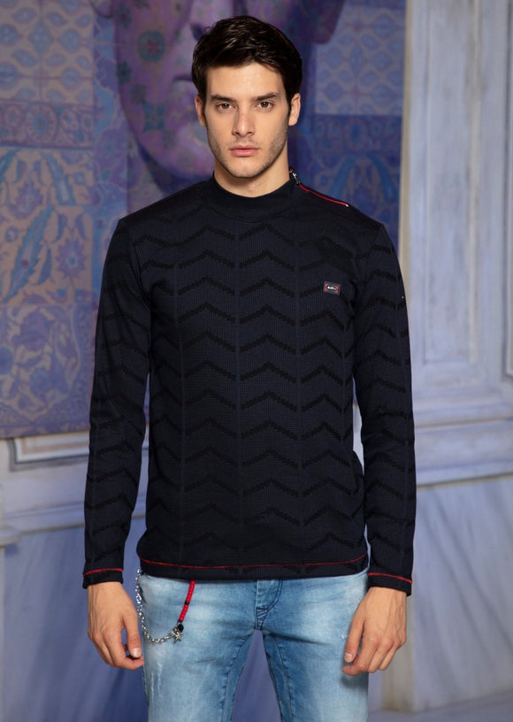 Mondo Navy Blue Semi Turtle Neck Sweater