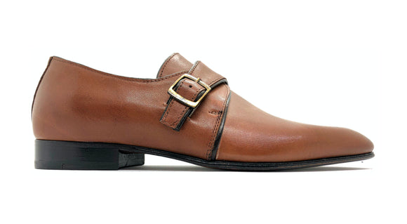 merai Mens Leather Side Buckle Tan Slip-on Shoes