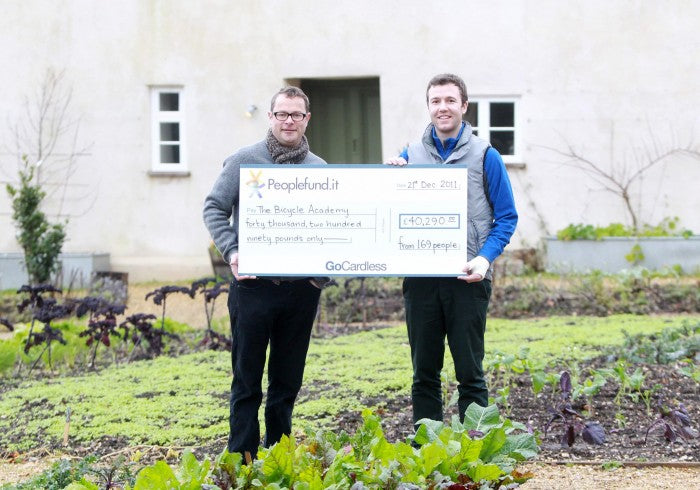 Hugh Fearnley-Whittingstall presents cheque to Andrew Denham