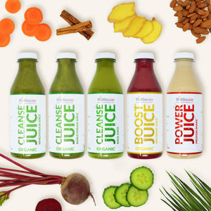 Performance Detox Programme Five Detox Bottles Wheatgrass Juice, BarleyGrass Juice, Kale Juice, Beetroot Juice, Protein Shake Juice Detox