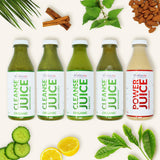 Five bottles of detox juice including, Wheatgrass Juice, Barleygrass Juice, Kale Juice, Blended Juice and Protein Juice