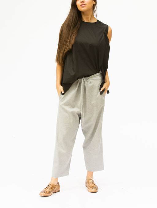 MS-522P FRONT TIE WOOL TROUSERS