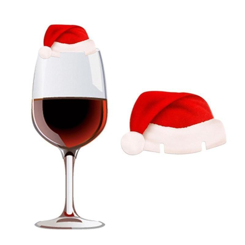 SANTA WINE GLASS HATS (10 PIECES)