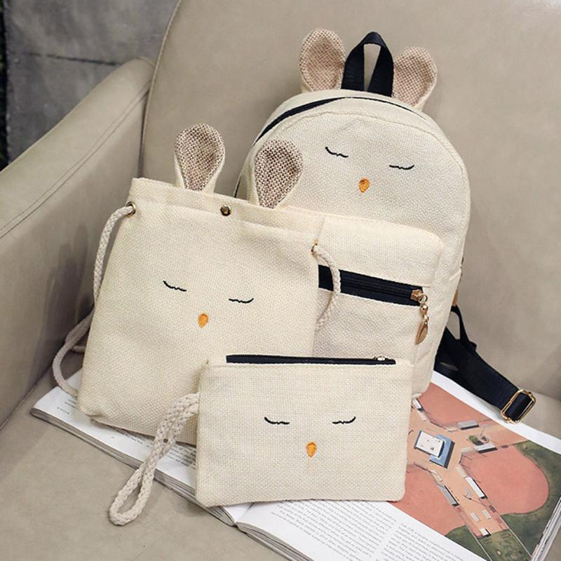 Linen 3pcs/set Backpacks Sets Cute Rabbit