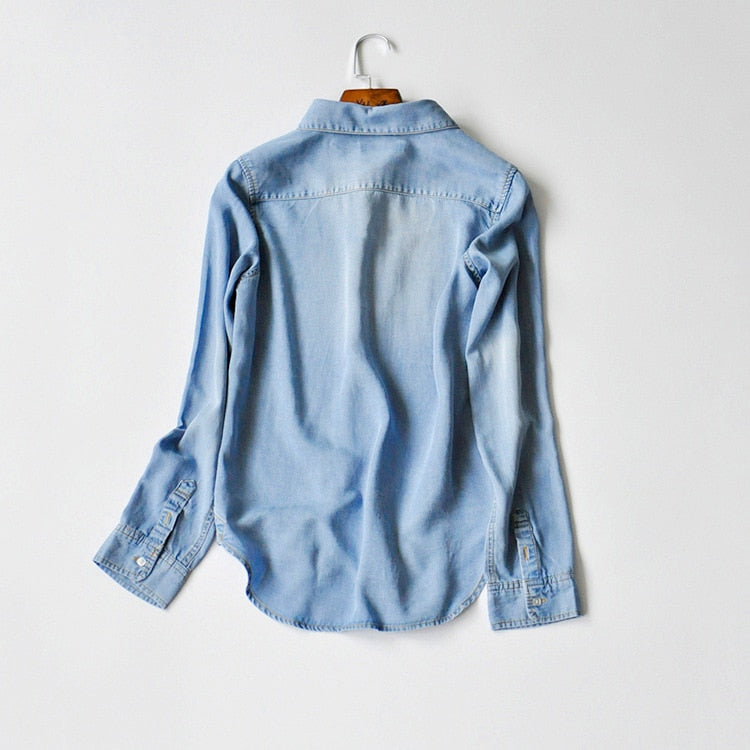 100% Lyocell Denim Light Blue Shirt