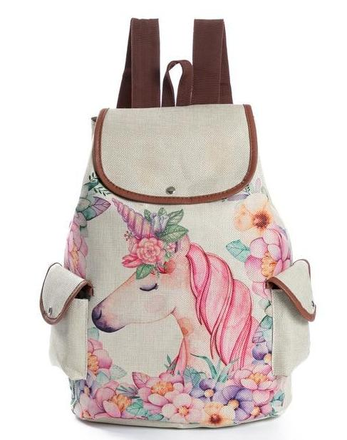 Linen Unicorn Backpack