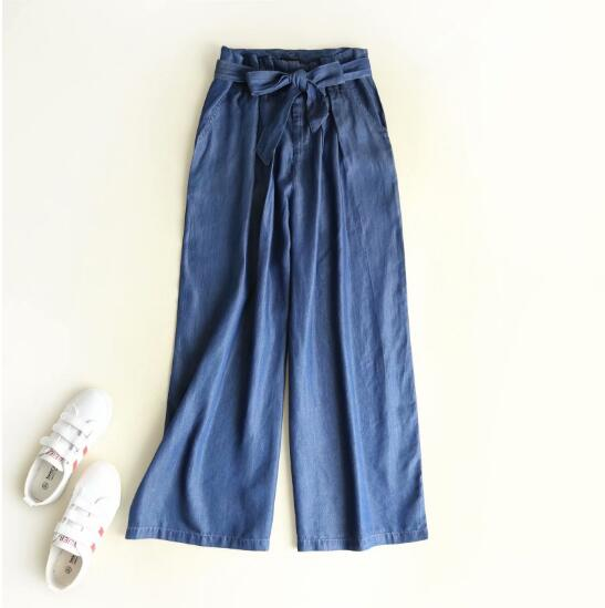 Tencel Denim Hight waist Wide Leg Pants