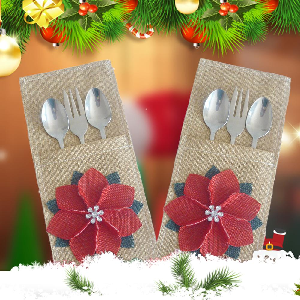 Linen Christmas Flower Holiday Cutlery Pocket